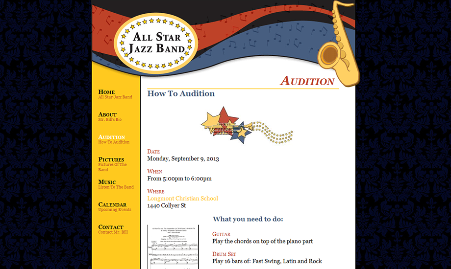 Audition page
