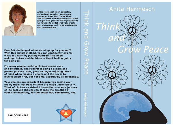 Book cover think and grow peace design concept